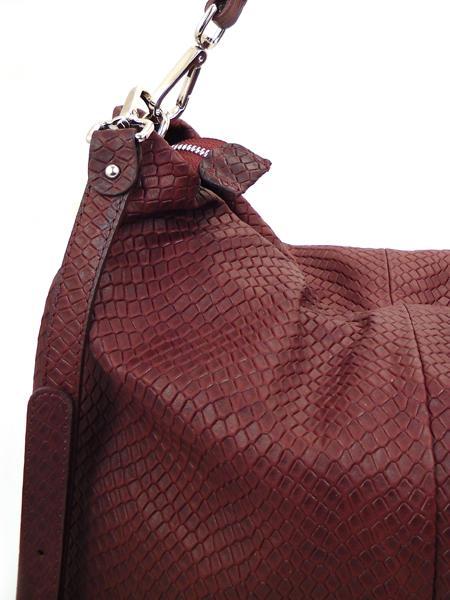 Бордовая сумка из кожи с фактурой под рептилию GIANNI CHIARINI 867 bordo-4463