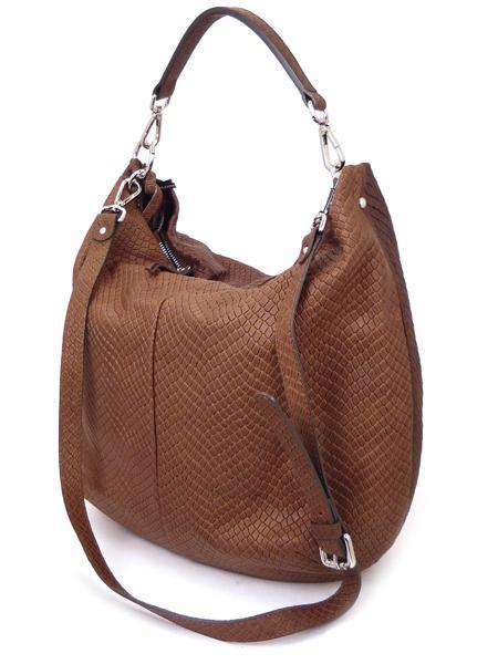 Коричневая сумка из кожи с фактурой под рептилию GIANNI CHIARINI 867 marrone-0