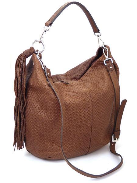 Коричневая сумка из кожи с фактурой под рептилию GIANNI CHIARINI 867 marrone-4468