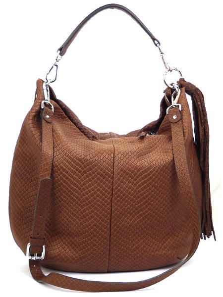 Коричневая сумка из кожи с фактурой под рептилию GIANNI CHIARINI 867 marrone-4469