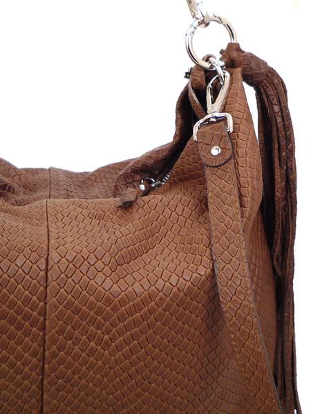 Коричневая сумка из кожи с фактурой под рептилию GIANNI CHIARINI 867 marrone-4467