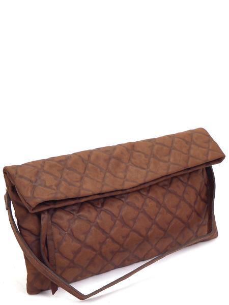Темно-коричневый клатч из тиснененой мягкой кожи GIANNI CHIARINI 5235 tdm etn-0