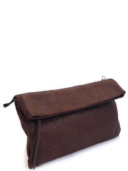 Темно-коричневый кожаный клатч GIANNI CHIARINI с длинным ремешком