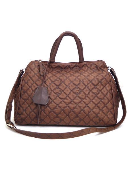 Темно-коричневая дамская кожаная сумка итальянской марки GIANNI CHIARINI -5126