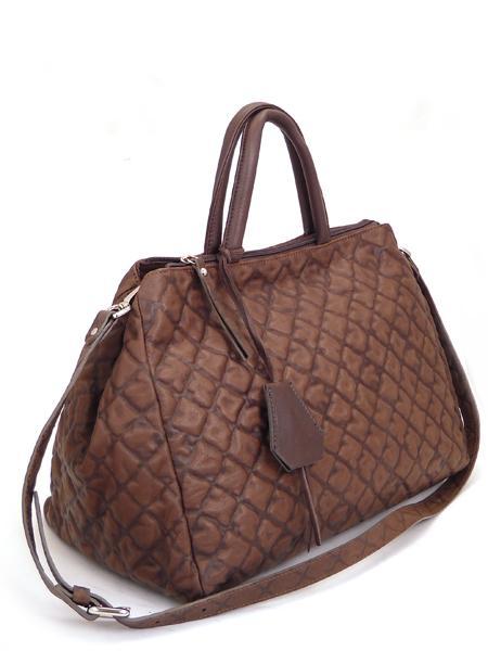 темно-коричневая сумка типа саквояж итальянской марки GIANNI CHIARINI