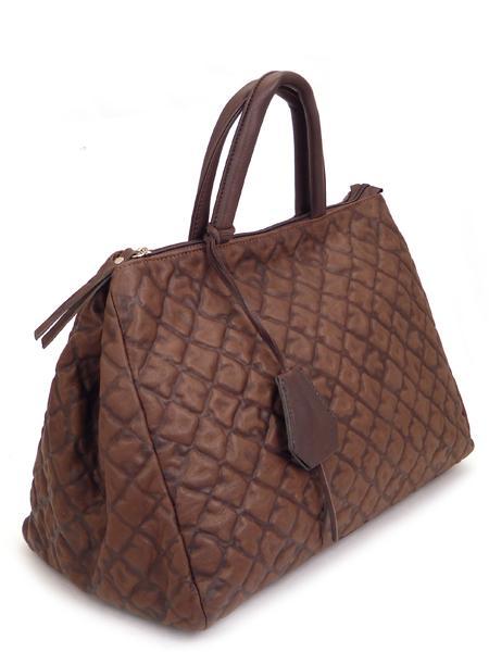 Темно-коричневая дамская кожаная сумка итальянской марки GIANNI CHIARINI -5125