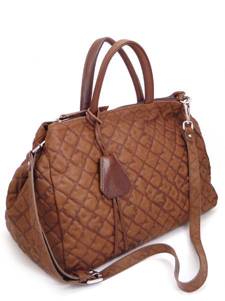 Коричневая дамская кожаная сумка итальянской марки GIANNI CHIARINI -0