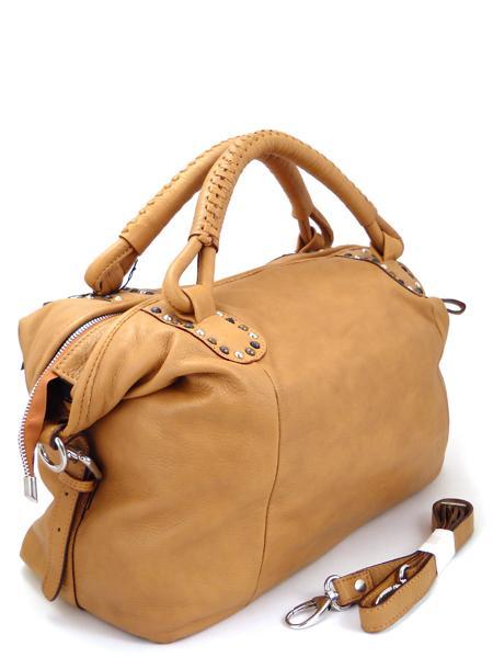 Мягкая кожаная большая сумка песочного цвета итальянской марки BAGIA
