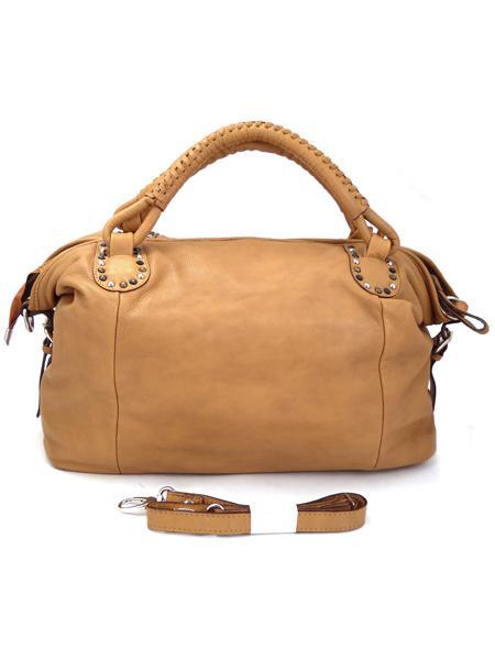 Мягкая кожаная большая сумка песочного цвета итальянской марки BAGIA -3567