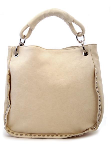 Кожаная летняя сумка цвета топленого молока итальянской марки INNUE-5208