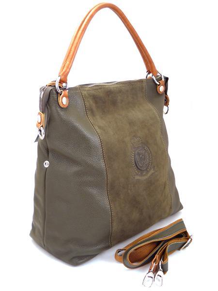 Большая сумка цвета мха с гербовым тиснением итальянской марки BAGIA-1265