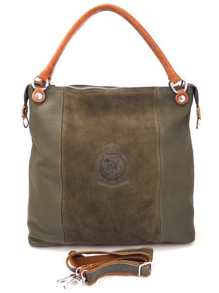 Большая сумка цвета мха с гербовым тиснением итальянской марки BAGIA-0