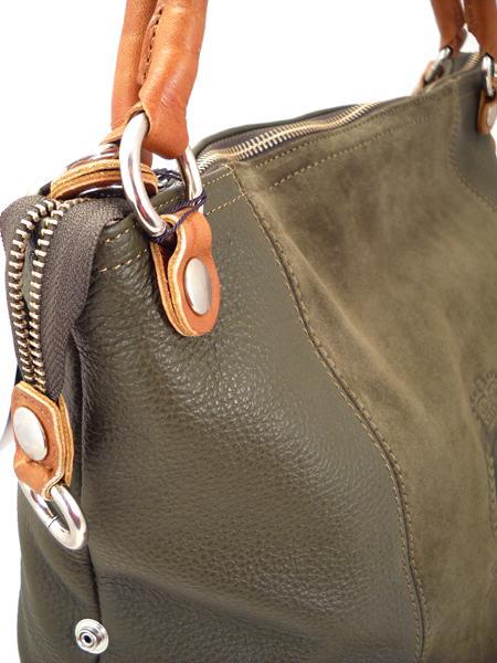 Большая сумка цвета мха с гербовым тиснением итальянской марки BAGIA-1264
