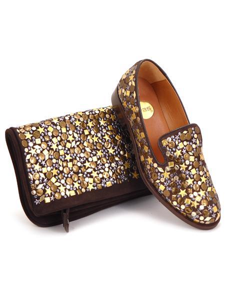 Замшевый клатч шоколадного цвета декорированный золотом RAS 676-3755