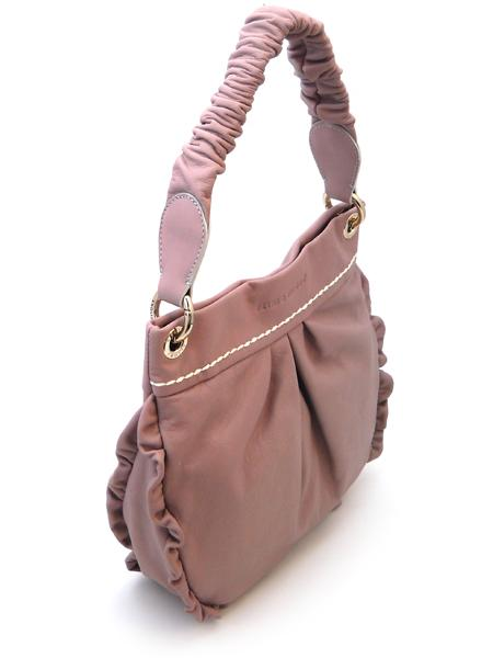 Розовая сумочка с жатой ручкой итальянской марки PLINIO VISONA-20567