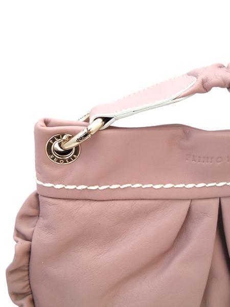Розовая сумочка с жатой ручкой итальянской марки PLINIO VISONA-580