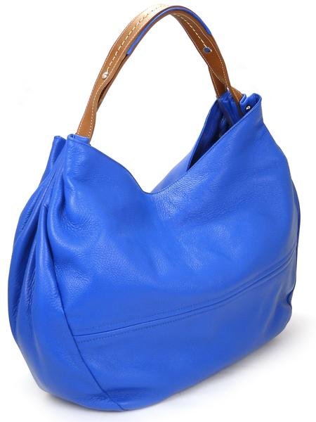 Ярко-голубая сумка из мягкой оленьей кожи итальянской марки PERGOLESI-0