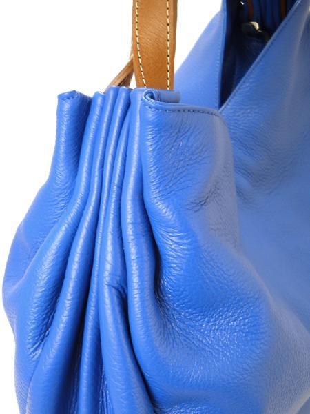 Ярко-голубая сумка из мягкой оленьей кожи итальянской марки PERGOLESI-782