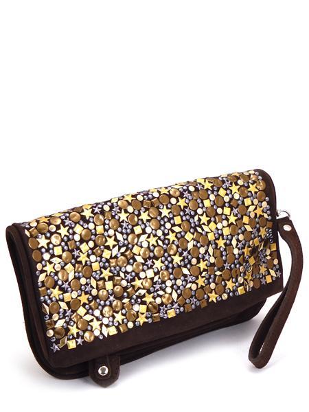 Замшевый клатч шоколадного цвета декорированный золотом RAS 676-21455
