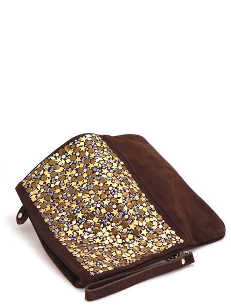 Замшевый клатч шоколадного цвета декорированный золотом RAS 676-3754