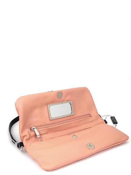 Розовый кожаный клатч с черным гофрированым манжетом RENATO ANGI -2288