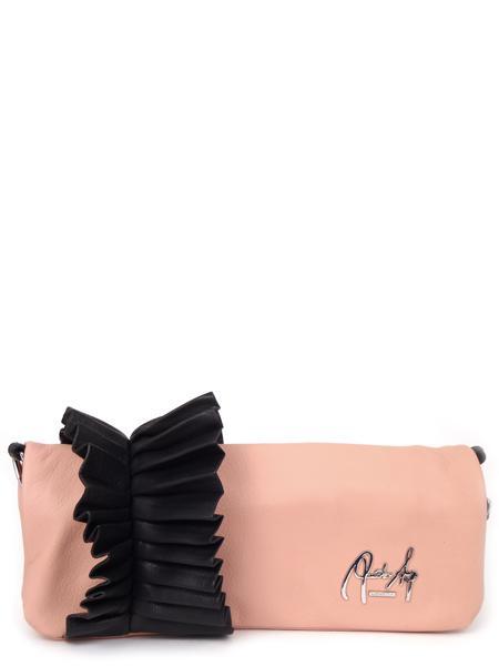 Розовый кожаный клатч с черным гофрированым манжетом RENATO ANGI -2287
