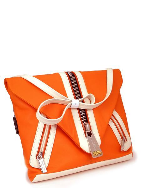 большая сумка клатч апельсинового цвета Renato Angi