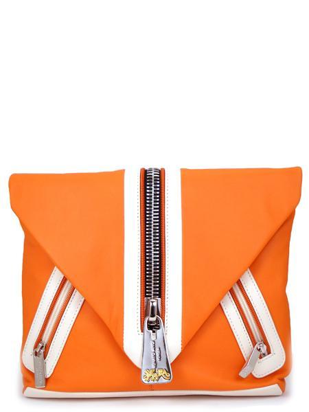 Кожаная сумка в стиле sport-fashion апельсинового цвета RENATO ANGI -2297