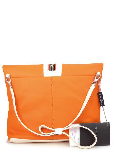 Кожаная сумка в стиле sport-fashion апельсинового цвета RENATO ANGI -2298