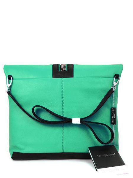Кожаная сумка в стиле sport-fashion цвета бриллиантовой зелени RENATO ANGI -2302