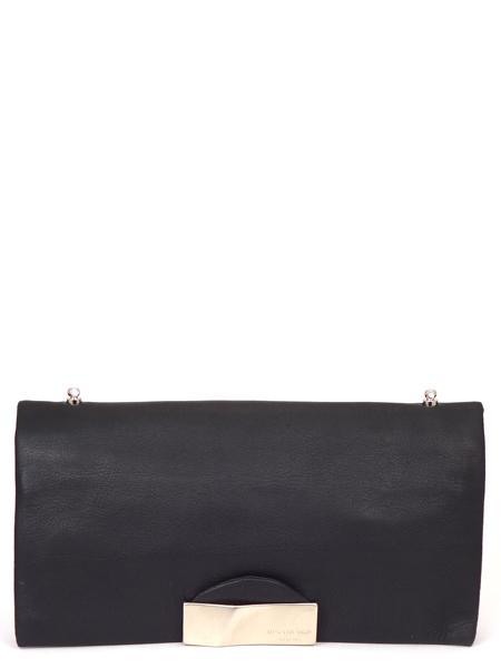 Черный кожаный клатч на длинном ремешке RENATO ANGI-2317