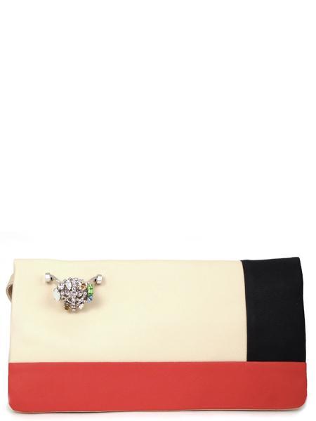 Клатч трехцветный кожаный с перстнем RENATO ANGI -2322