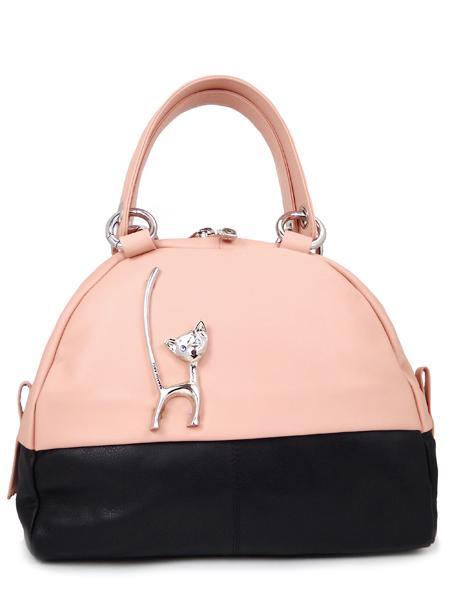 "Розово-черная дамская сумка ""с кошкой"" RENATO ANGI -2326"
