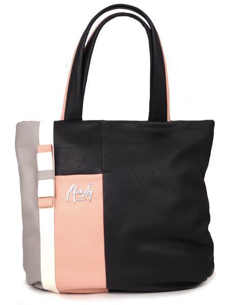 Кожаная сумка-шопер в розово-черных тонах RENATO ANGI 332530315-2307