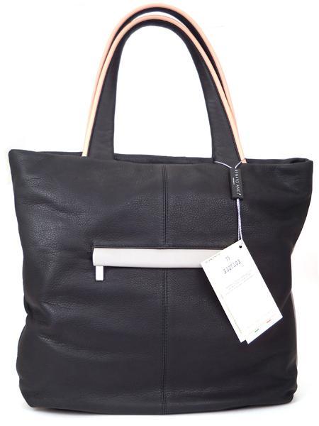 Кожаная сумка-шопер в розово-черных тонах RENATO ANGI 332530315-2308