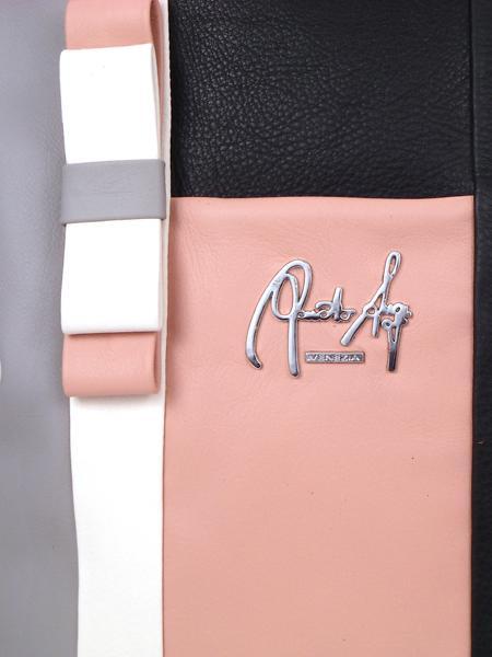 Кожаная сумка-шопер в розово-черных тонах RENATO ANGI 332530315-2309