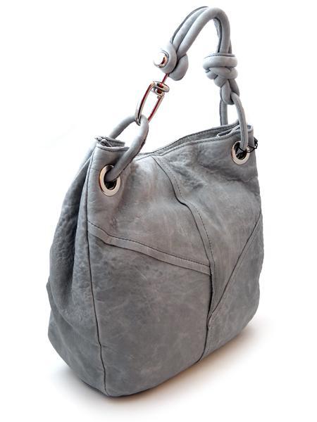 Светло-серая кожаная сумка итальянской марки MADI-21952