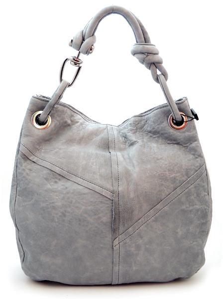 Светло-серая кожаная сумка итальянской марки MADI-5509