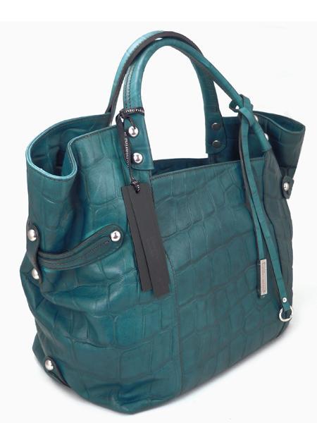 Дамская кожаная сумка изумрудного цвета итальянской марки GIANNI CHIARINI-21432
