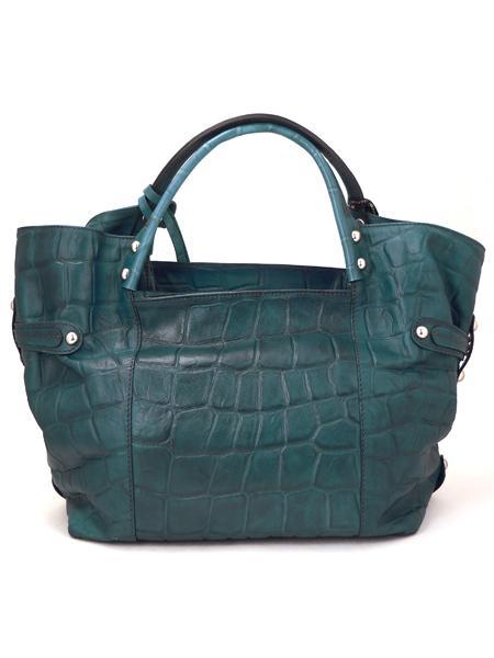 Дамская кожаная сумка изумрудного цвета итальянской марки GIANNI CHIARINI-3666