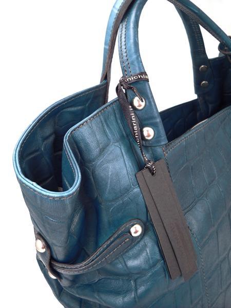 Дамская кожаная сумка изумрудного цвета итальянской марки GIANNI CHIARINI-3667