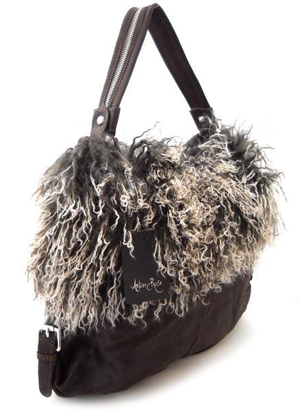 Темно-коричневая сумка с мехом итальянской марки AMBER ROSE-0