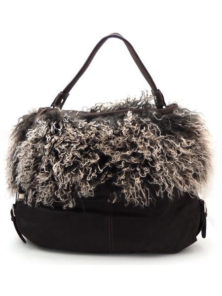 Темно-коричневая сумка с мехом итальянской марки AMBER ROSE-5040