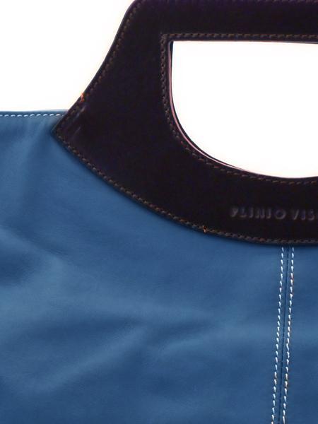 Деловая синяя сумка с коричневыми ручками итальянской марки PLINIO VISONA-20562