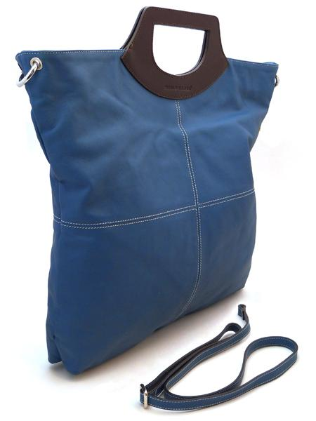 Деловая синяя сумка с коричневыми ручками итальянской марки PLINIO VISONA-570