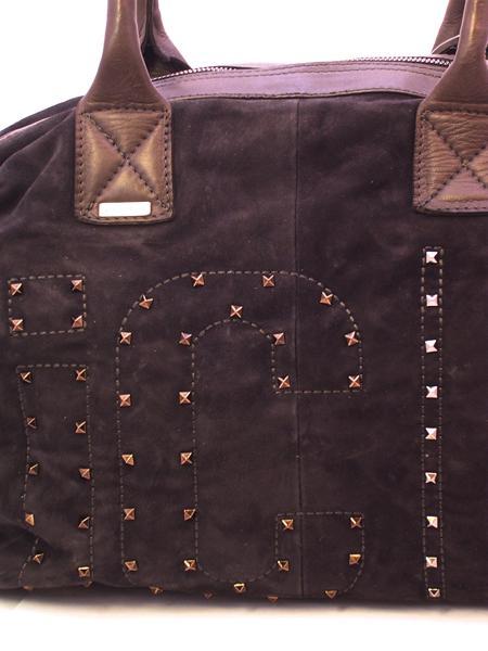 Сумка замшевая темно-коричневая с клепками итальянской марки VIC MATIE-442