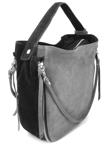 Серо-черная замшевая сумка с молниями итальянской марки GIANNI CHIARINI-0