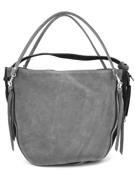 Серо-черная замшевая сумка с молниями итальянской марки GIANNI CHIARINI-3272