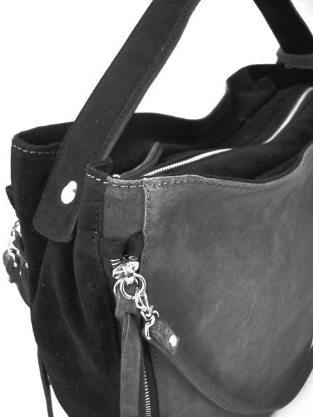 Серо-черная замшевая сумка с молниями итальянской марки GIANNI CHIARINI-3273