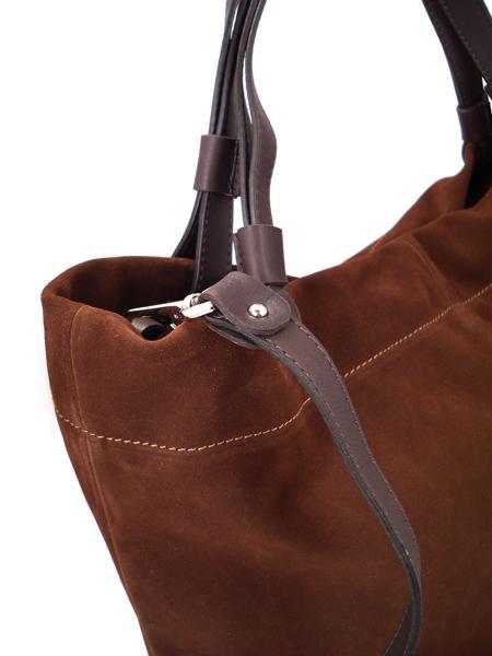 Замшевая сумка шоколадного цвета итальянской марки GIANNI CHIARINI-3583